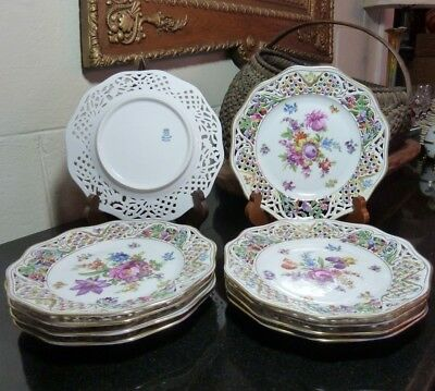 "10 Schumann Dresden Chateau Flowers Reticulated 8 3/8"" Salad Plates Bavaria"