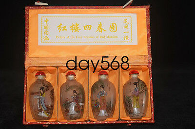 """Old China folk Inside hand-painted """"Beauties Fig"""" glass snuff bottle LJQ762"""