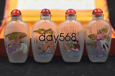 Old Chinese folk hand-painted PuSongling House glass snuff bottle LJQ763