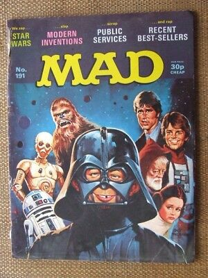 "Mad Magazine No 191.  UK edn. ""Star Wars"" cover & 7 page comic strip pastiche."