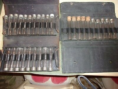 Antique Glass Medicine Apothecary Bottles Vials Tubes w/Lids/Corks in Cases