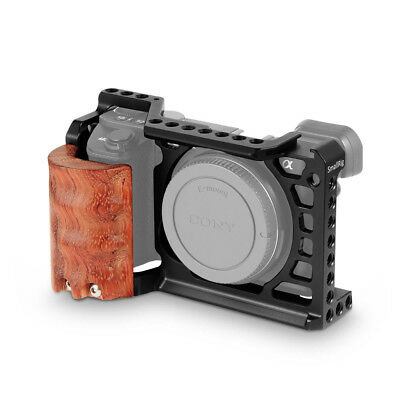 SmallRig Camera Cage with Wooden Handgrip /Arca Swiss QR plate for Sony A6500