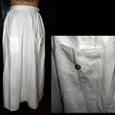 Antique 1800s Rare Victorian Romantic Dress White Primitive Pocket Day Skirt S