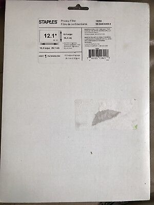"Staples 12.1"" Widescreen Privacy Filter Black 18284 Brand New And Factory Sealed"