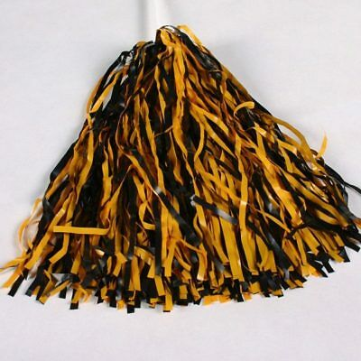 1 Pair Black and Gold Pom-Poms - Cheerleader Costume (Free Shipping)