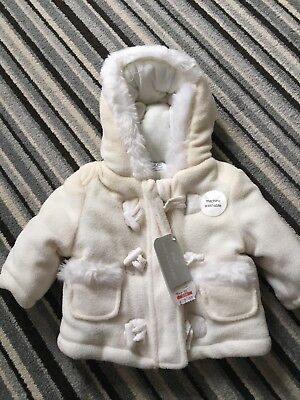 Newborn Fleece Coat Jacket F&F BRAND NEW WITH TAGS cream Boy Or Girl