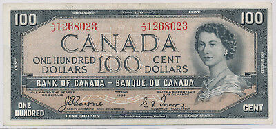 Bank Of Canada Devils Face 100 Dollars 1954 A/j1268023 - Vf