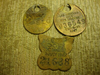 3 diff L.A. CTY, CAL. DOG LICENSE, TAG, TAX, 1926, 1935, 1946