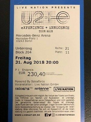 U2 Ticket Berlin 31.08.2018 Unterrang Block 204
