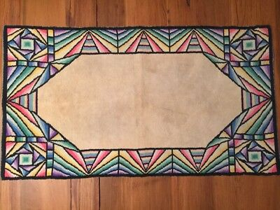 """Arts & Crafts Stained Glass Pattern Rug Aristex Floor Mat 38""""x21"""" Vintage 1940s"""