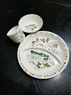 Interpur 1985  Pastic Dish Sets Farm & Farm Animals ,with alphabet ~Plate & Cup