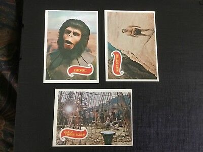 1969 Topps Planet Of The Apes Green Back Lot X 3 No.42,43,44