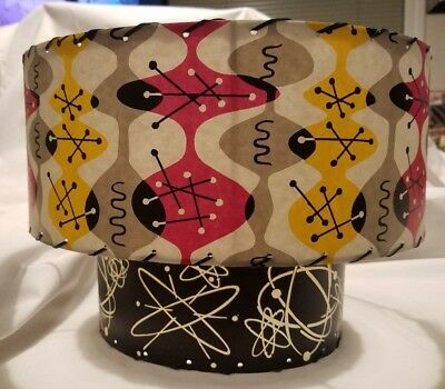 Mid-Century Atomic Colorful Lamp Shade, Black Yellow Pink Gray