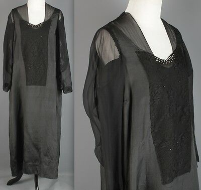 VTG 1920s Women's Black Silk Taffeta Drop Waist Dress #1618 20s