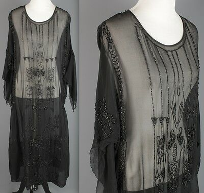 VTG 1920s AS-IS Women's Black Chiffon Glass Beaded Dress Flapper Glam 20s #1623