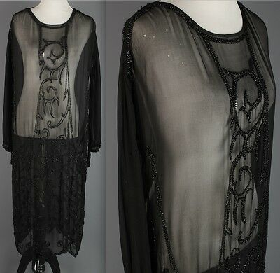 VTG 1920s AS-IS Women's Black Chiffon Glass Beaded Dress Flapper Glam 20s #1624