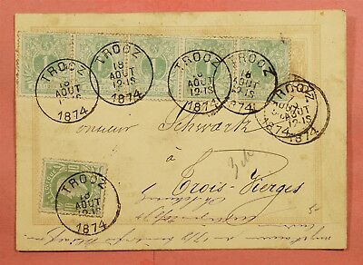 1874 Belgium Uprated Postal Card Stationery Trooz Cancel To Luxembourg
