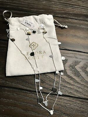 Kendra Scott Leola Necklace In Silver And Black Mother Of Pearl