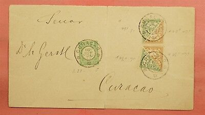 Unusual Bisects On 1918 Netherlands Antilles Curacao Cover