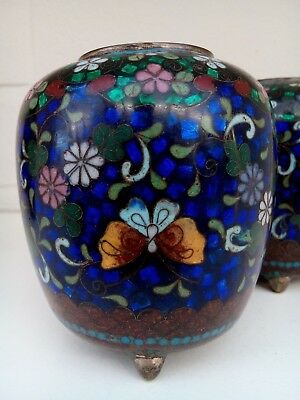 Two Antique Japanese Meiji Period 3 footed Cloisonné Censers or Potpourri Jars