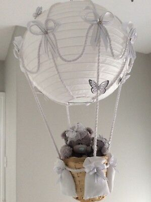 Hot air balloon light shade, white and silver