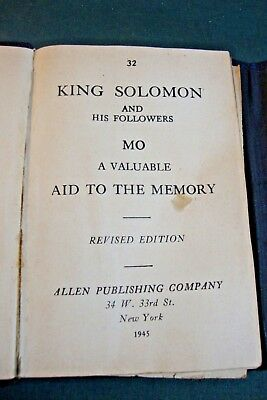 1945 King Solomon and His Followers Mo Aid to the Memory Allen Publsihing