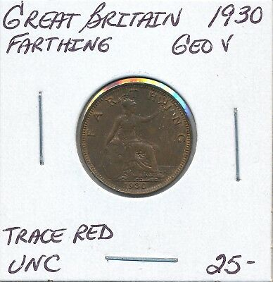 Great Britain  Farthing 1930 George V - Unc Trace Red