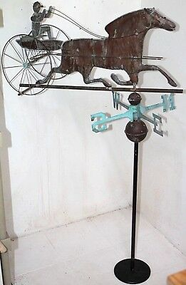 Antique Horse & Sulky W/ Jockey, Copper Weathervane Lightning Rod W/ Heavy Stand