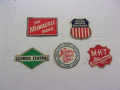 Five Vintage 1950's Post Cereal Railroad Line Emblems   Signs    (  Lot # 3  )