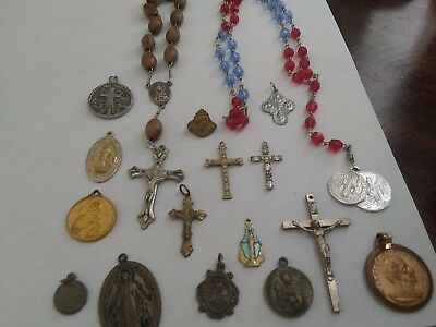 Mixed Lot Of 17 Antique & Vintage Christian Religious Charms,medals & Crucifixes