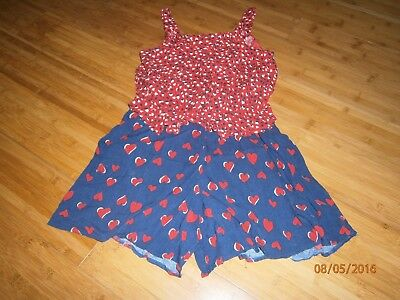 Next Girls Heart Playsuit in Red & Blue - Age 12 yrs