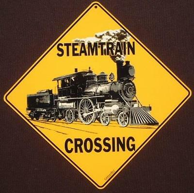 STEAMTRAIN CROSSING SIGN ALUMINUM decor railroad picture art home signs novelty