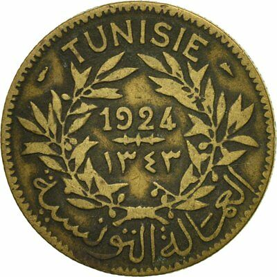 [#523977] Tunisia, Anonymous, 2 Francs, 1924, Paris, EF(40-45), Aluminum-Bronze