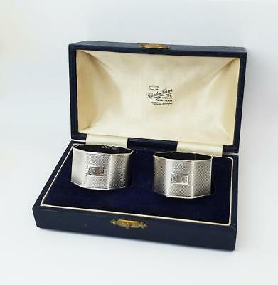 Antique ART DECO STERLING SILVER Cased NAPKIN RINGS Birmingham 1936