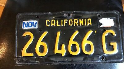 CA OLD License Plate Yellow on Black