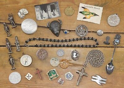 Job Lot Vintage & Modern Collectables - Jewellery Coins Tokens Marbles Badges &c