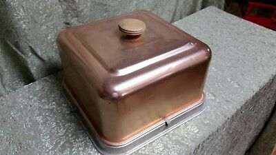 square Mirro copper metalcovered cake platter plate carrier