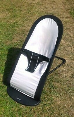 Baby Bjorn bouncer chair in black and silver grey