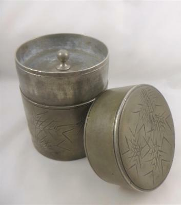 Antique Chinese Bamboo Swatow Pewter Tea Caddy Lidded Pot Jar By Kut Hing c1900