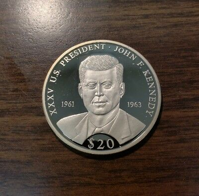 Liberia 2000 20 Dollar John F. Kennedy Proof Silver Coin