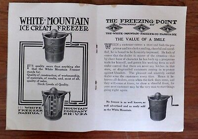 Nice 1910 Booklet White Mt. Freezer Ice Cream Churner, Nashua, NH, 12 pages