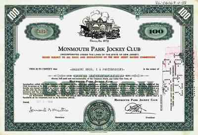 Monmouth Park Jockey Club 1964 Jersey City Pferderennbahn New Jersey 100 Shares