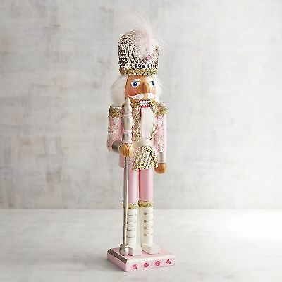 """Nutcracker Sequined 15"""" Wooden Christmas Pink & Blue"""