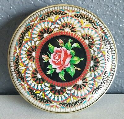 Vintage Round Raised Enamel Daher Black Rose Flower Floral Tin Made in Engand