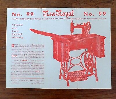 1906-10 Trifold 8 1/2 x 11 Ad Flyer Illinois Sewing Machine Co, New Royal No. 99