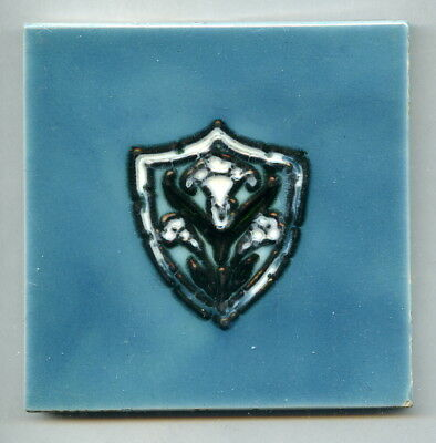 "Tube-lined 4""square Edwardian tile by Godwin & Thynne, 1912"