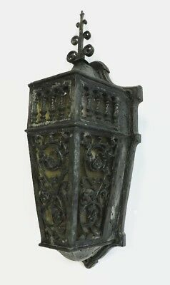 "Large Heavy 18"" Antique Gothic Victorian Bronze Porch Wall Sconce Light Fixture"