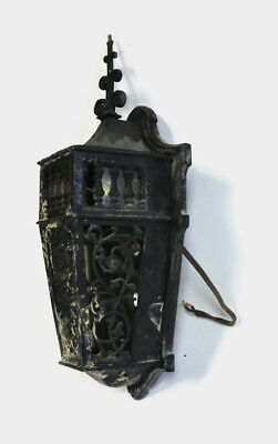 "LARGE HEAVY 18"" ANTIQUE GOTHIC VICTORIAN BRONZE PORCH WALL SCONCE LIGHT b"