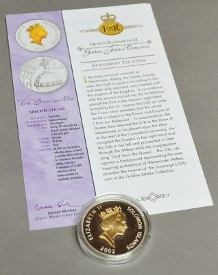 2002 $5 Solomon Islands The Sovereign's Orb 925 Silver Golden Jubilee Collection