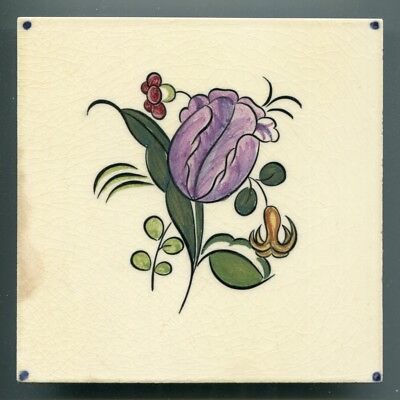 "Hand painted 6""sq tile from the 'Flower' series by Reginald Till, Carters, 1954"